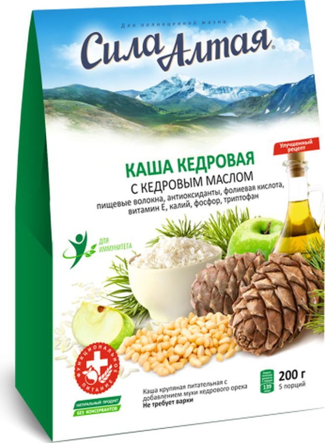 Каша крупяная Сила Алтая питательная с добавлением муки ореха кедрового, 200 г