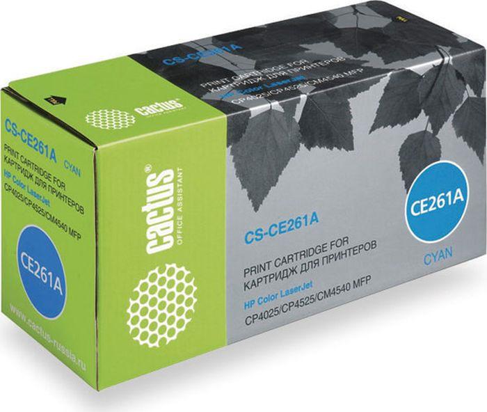 Картридж Cactus CS-CE261AR, голубой, для лазерного принтера картридж cactus cs tk540с голубой
