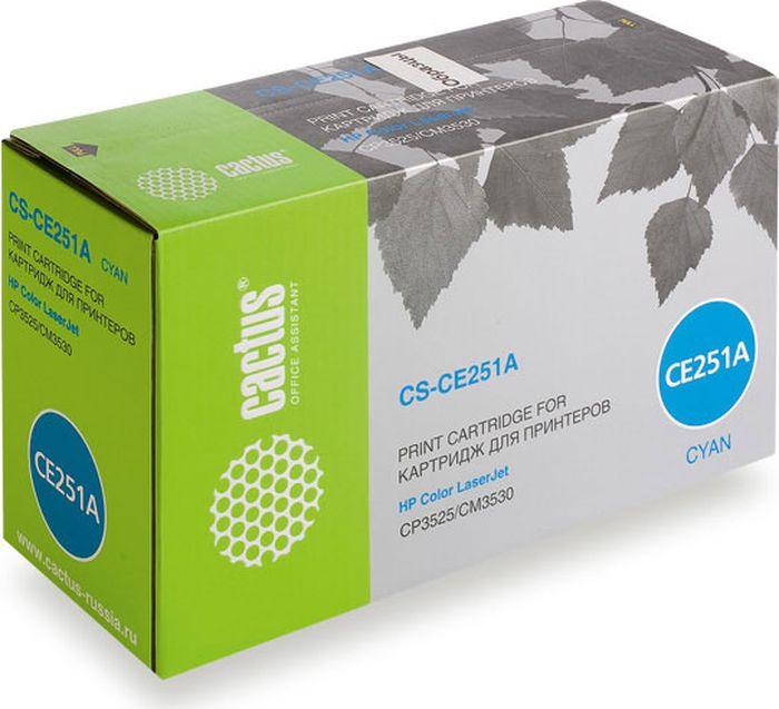 Фото - Картридж Cactus CS-CE251AR, голубой, для лазерного принтера тонер картридж cactus cs ce250av черный 5000стр для hp clj cm3530 cp3525
