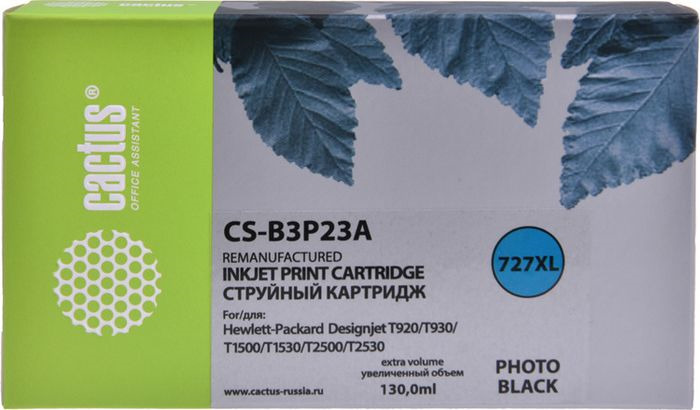 Картридж струйный Cactus CS-B3P23A фото для HP DJ T920/T1500, черный картридж cactus 106r02181 cs ph3010