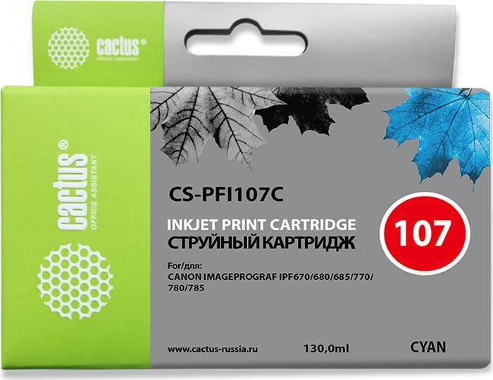 Картридж струйный Cactus CS-PFI107C для Canon IP iPF670/iPF680/iPF685/iPF770/iPF780/iPF785/, синий картридж cactus cs pfi107c для canon ip ipf670 ipf680 ipf685 ipf770 ipf780 ipf785 синий