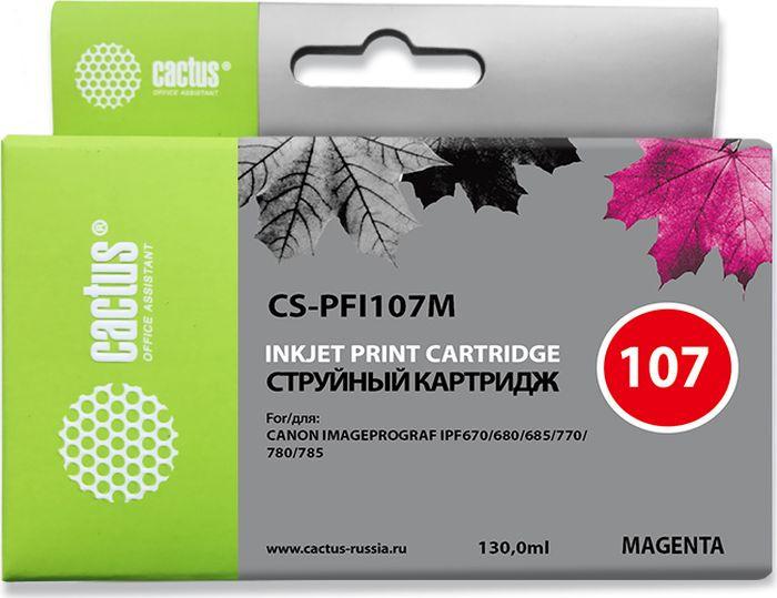 Картридж струйный Cactus CS-PFI107M для Canon IP iPF670/iPF680/iPF685/iPF770/iPF780/iPF785/, пурпурный картридж cactus cs pfi107c для canon ip ipf670 ipf680 ipf685 ipf770 ipf780 ipf785 синий