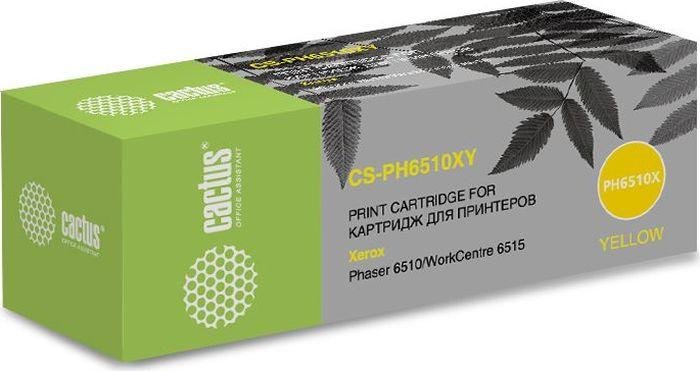 Картридж Cactus CS-PH6510XY, желтый, для лазерного принтера тонер картридж cactus cs ph6280y желтый для xerox 6280 5900стр