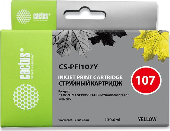 Картридж струйный Cactus CS-PFI107Y для Canon IP iPF670/iPF680/iPF685/iPF770/iPF780/iPF785/, желтый картридж cactus cs pfi107c для canon ip ipf670 ipf680 ipf685 ipf770 ipf780 ipf785 синий