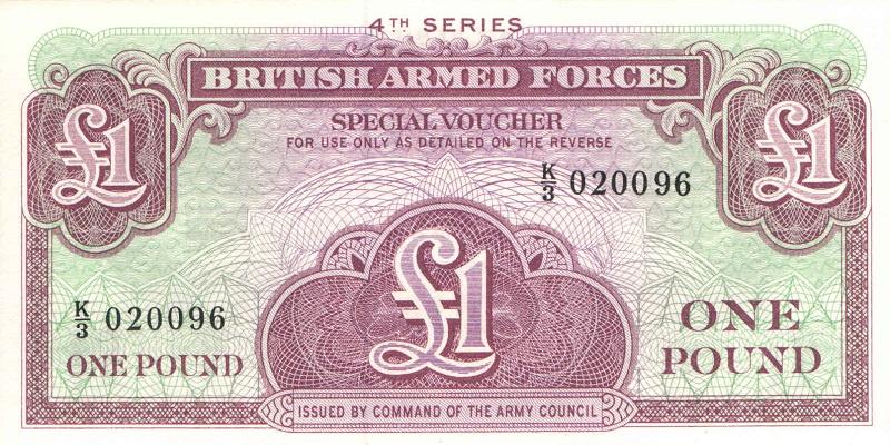 Банкнота Специальный ваучер на 1 фунт. Британские вооруженные силы. 4 серия. Великобритания. 1962 год фунт
