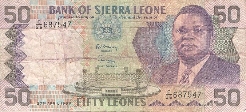 Банкнота номиналом 50 леоне. Сьерра-Леоне. 1989 год банкнота номиналом 5 новых крузадо бразилия 1989 год