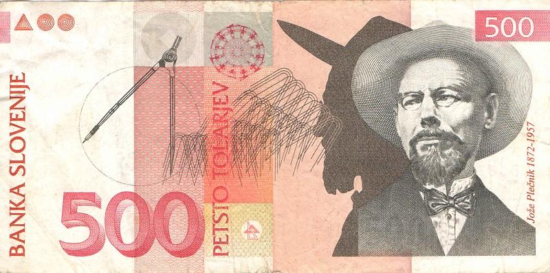 Банкнота номиналом 500 толаров. Словения. 1992-2005 года компьютер 2005 года
