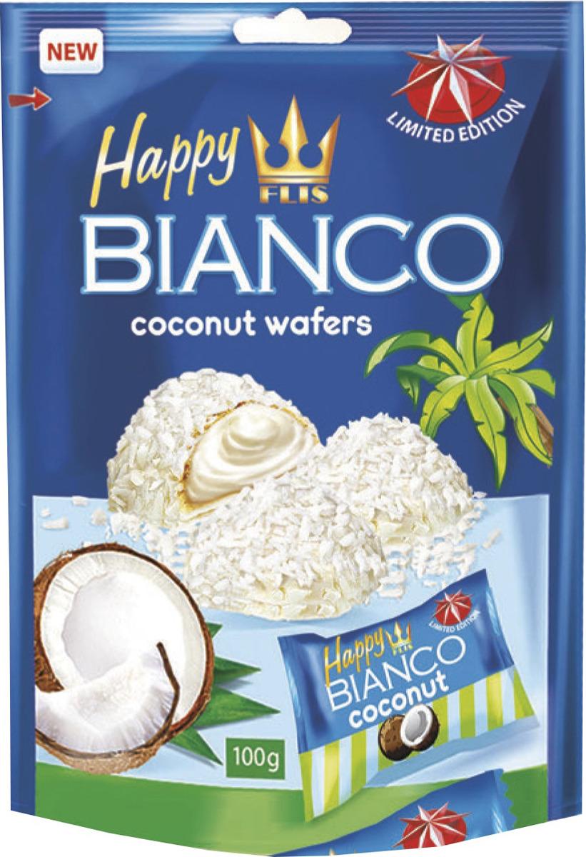 Конфеты глазированные кокосовые Flis Happy Bianco Blue, 140 г