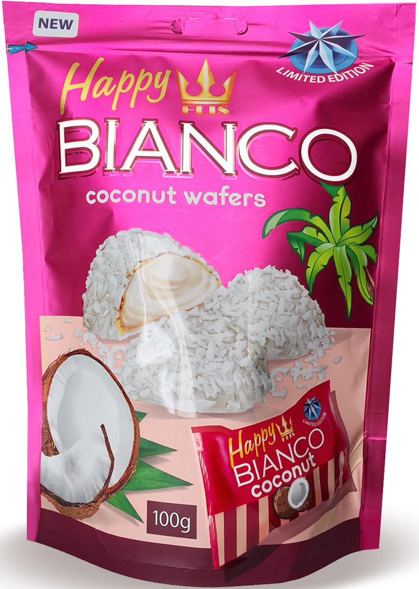 Конфеты глазированные кокосовые Flis Happy Bianco Pink, 140 г