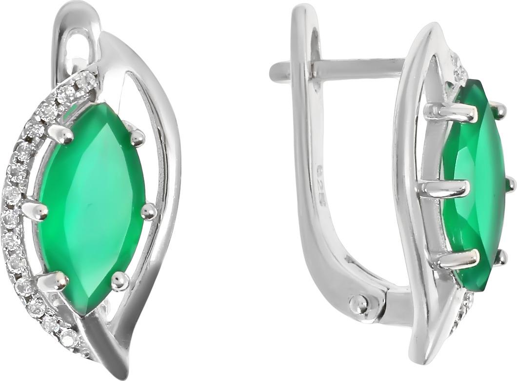 Серьги Balex Jewellery, серебро 925, хризопраз, фианит, 2405937241 Balex Jewellery