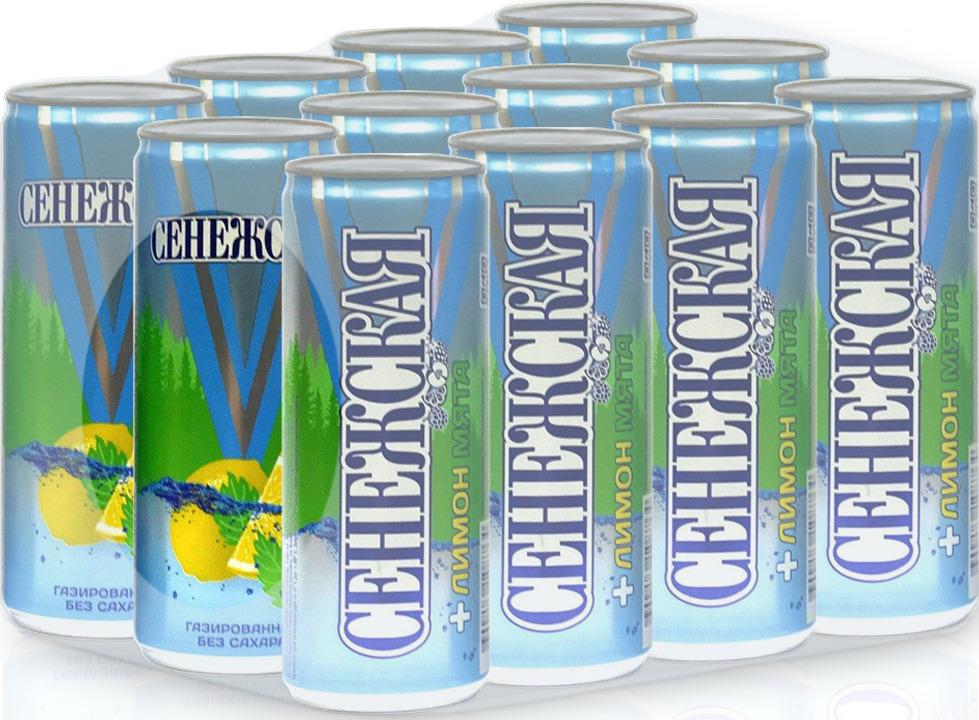 Газированный напиток Сенежская Лимон-мята, 12 шт по 250 мл безалкогольный напиток среднегазированный аскания лайм мята 12 шт по 0 5 л