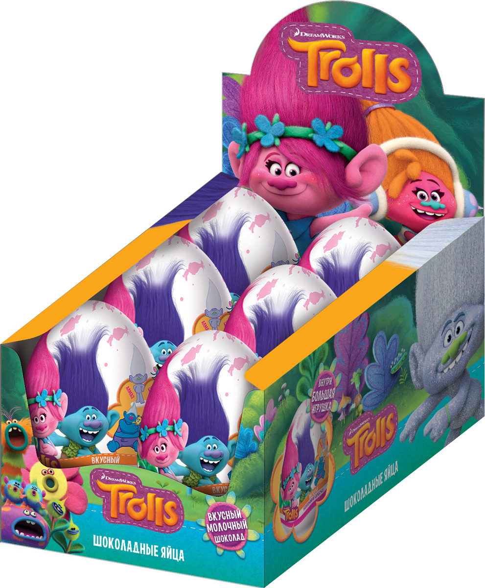 Шоколадное яйцо Конфитрейд Trolls XXL, 70 г Конфитрейд