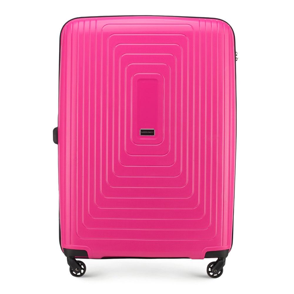Чемодан Wittchen 56-3T-783, фуксия56-3T-783-60Большой чемодан из коллекции PP Pulse Большой чемодан выполнен из чрезвычайно прочного, легкого пластика - полипропилена. Функциональный дизайн в сочетании с современным тенденциями порадует каждого пользователя. Модель представлена в приглушенных оттенках: черный, темно-синий и белый, а также выразительных: фуксия и красный. Чемодан оснащен четырьмя колесиками, которые облегчают маневрирование; телескопической ручкой и дополнительной резиновой ручкой; кодовый замок TSA, который гарантирует безопасное открытие чемоданов и его повторное закрытие без повреждения замка сотрудниками таможни; основное отделение с эластичными ремнями, предохраняющими одежду от перемещения; отделение на молнии; карман - сетка на молнии. Размеры указаны с учетом всех выступающих элементов - ручки или колёса.Характеристики продукта:артикул товара: 56-3T-783-60ширина (см): 54глубина (см): 32,5высота (см): 78объем (л): 120вес (кг): 4,06материал: Полипропиленвеличина: большой