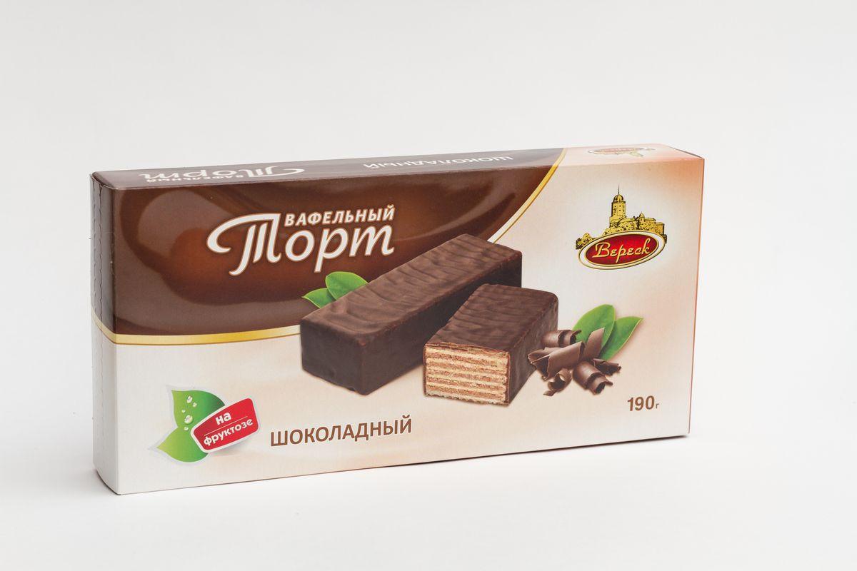 Вафельный торт Вереск Шоколадный, глазированный, 190 г