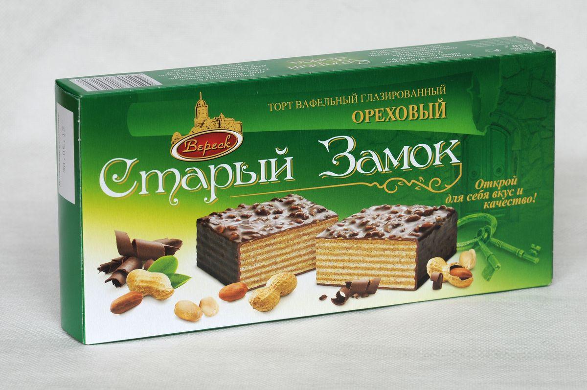 Вафельный торт Вереск Старый Замок Ореховый, глазированный, 250 г