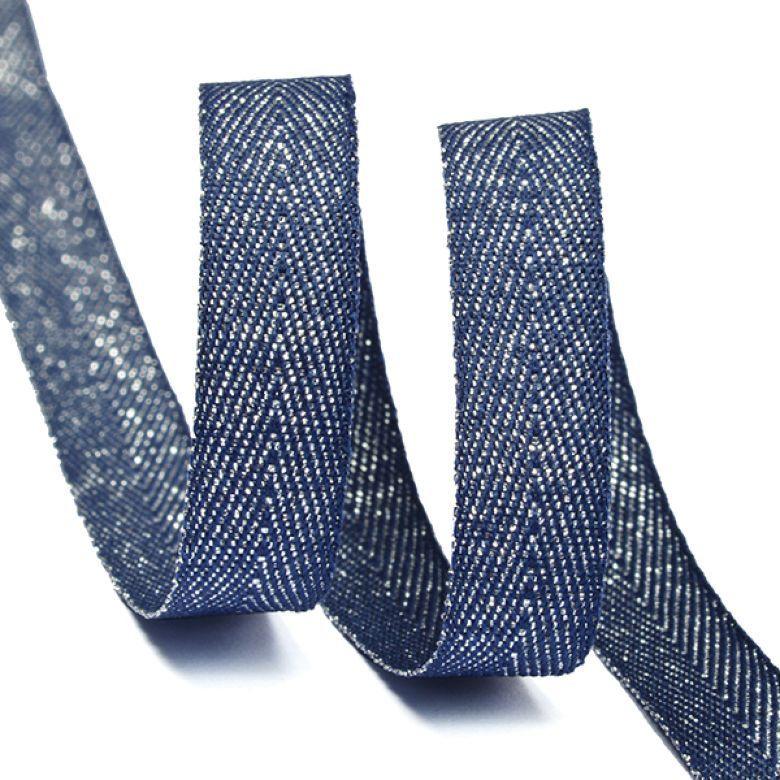 Тесьма киперная металлизированная Ideal, TBYT05, темно-синий, 10 мм х 22,85 м
