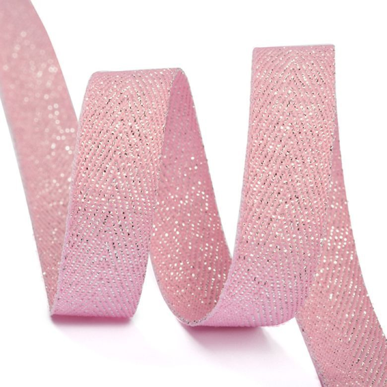 Тесьма киперная металлизированная Ideal, TBYT06, розовый, 10 мм х 22,85 м