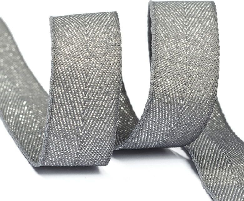 Фото - Тесьма киперная металлизированная Ideal, TBYT12, темно-серый, 16 мм х 22,85 м тесьма ideal кружевная персиковый 4 см 45 7 м