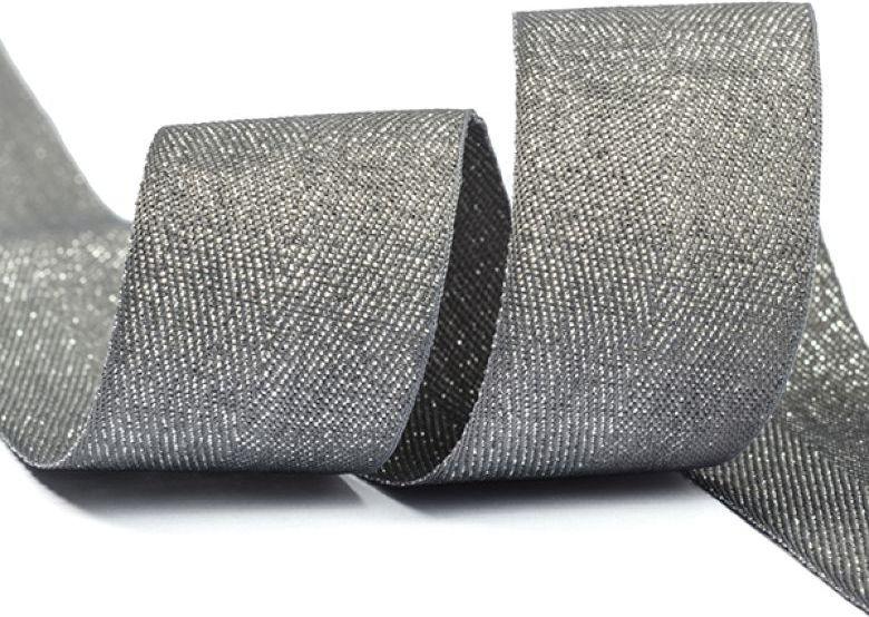 Тесьма киперная металлизированная Ideal, TBYT19, темно-серый, 25 мм х 22,85 м