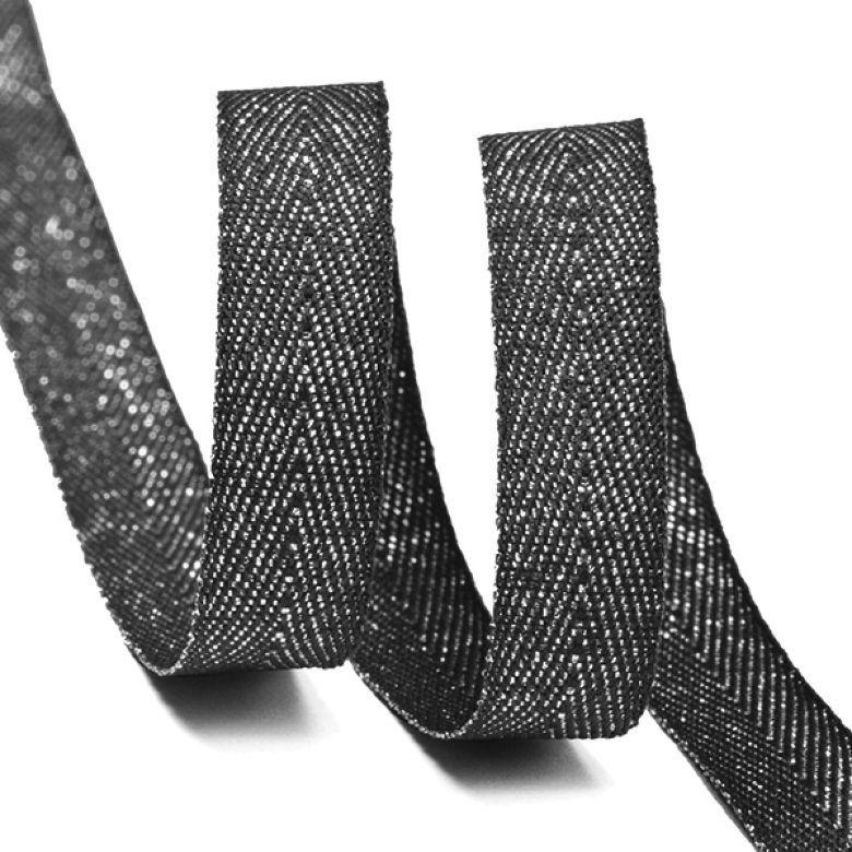 Фото - Тесьма киперная металлизированная Ideal, TBYT20, черный, 10 мм х 22,85 м тесьма ideal кружевная персиковый 4 см 45 7 м