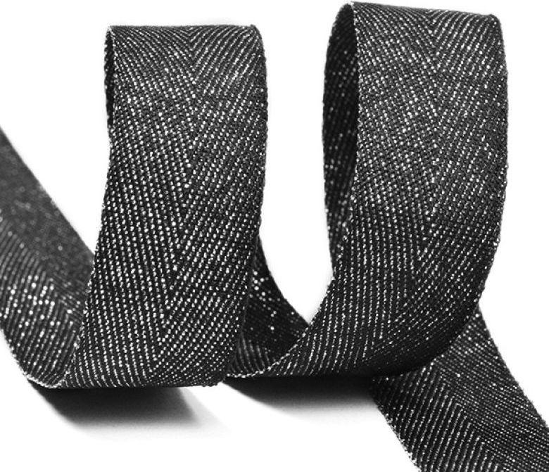 Фото - Тесьма киперная металлизированная Ideal, TBYT21, черный, 16 мм х 22,85 м тесьма ideal кружевная персиковый 4 см 45 7 м