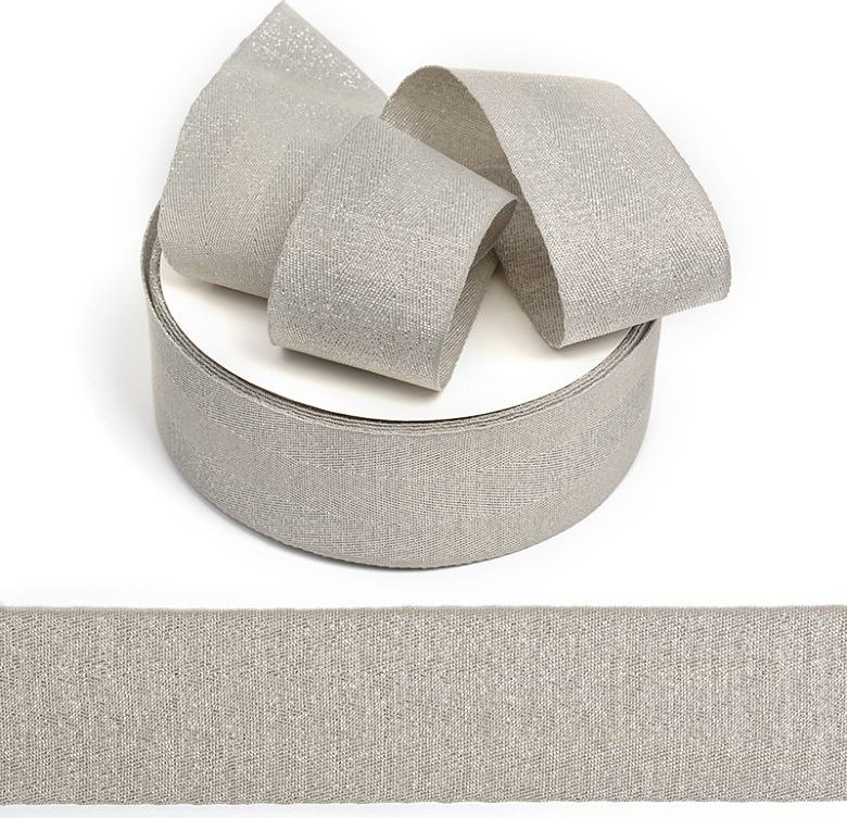 Фото - Тесьма киперная металлизированная Ideal, TBYT25, серый, 40 мм х 22,85 м тесьма ideal кружевная персиковый 4 см 45 7 м