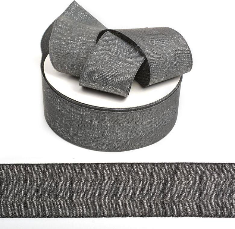 Фото - Тесьма киперная металлизированная Ideal, TBYT28, темно-серый, 40 мм х 22,85 м тесьма ideal кружевная персиковый 4 см 45 7 м