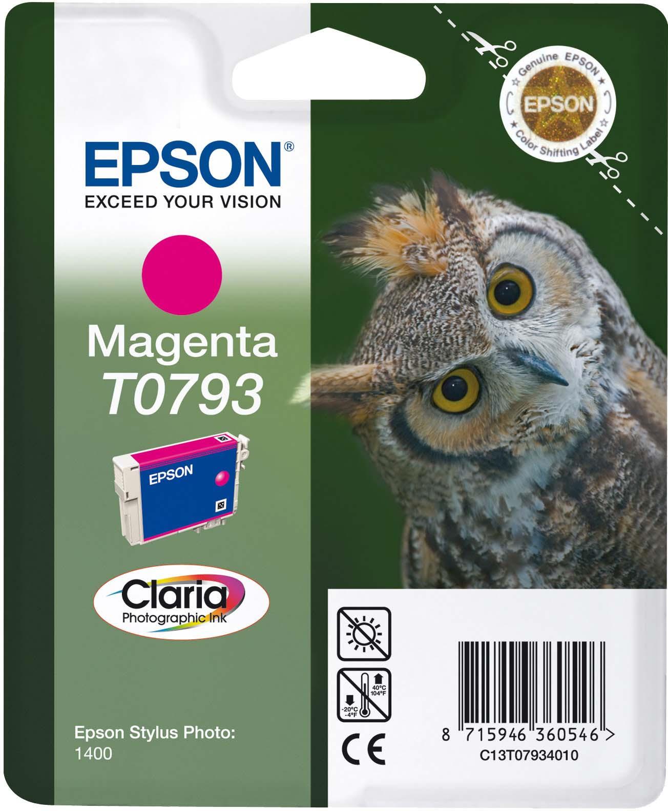 Картридж Epson C13T07934010 Magenta для принтеров Epson Stylus Photo 1500W, пурпурный картридж original epson [t034340] для epson stylus photo 2100 magenta
