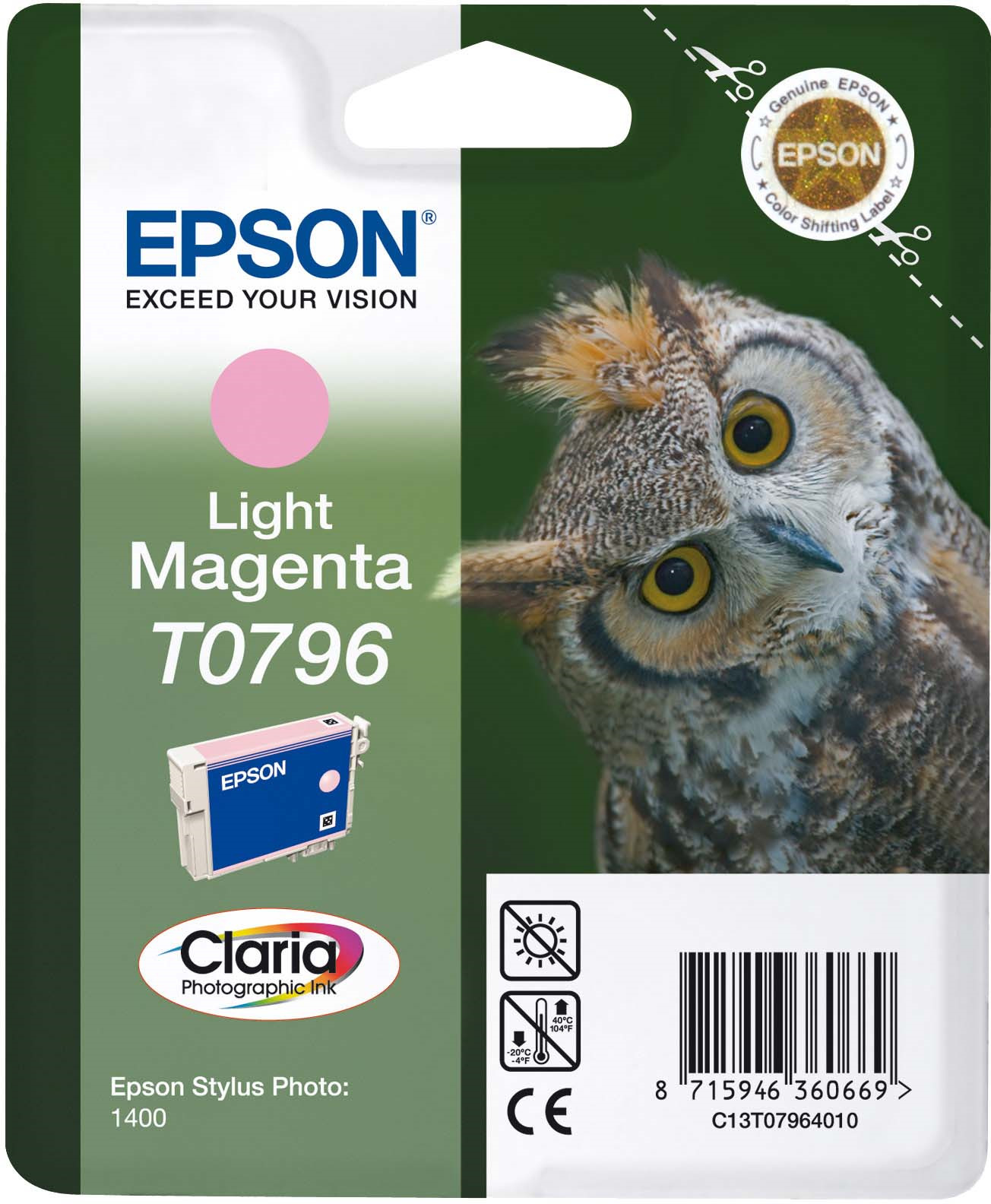 Картридж Epson C13T07964010 Light Magenta для принтеров Epson Stylus Photo 1500W, светло-пурпурный картридж original epson [t034340] для epson stylus photo 2100 magenta