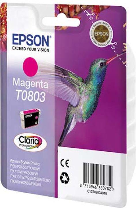 цена на Картридж Epson T0803, пурпурный, для струйного принтера, оригинал