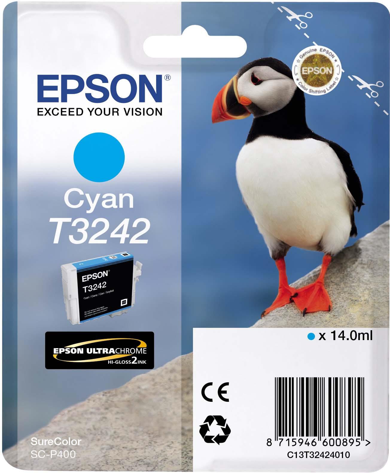 Картридж Epson C13T32424010 Cyan для принтеров Epson SC-P400, голубой