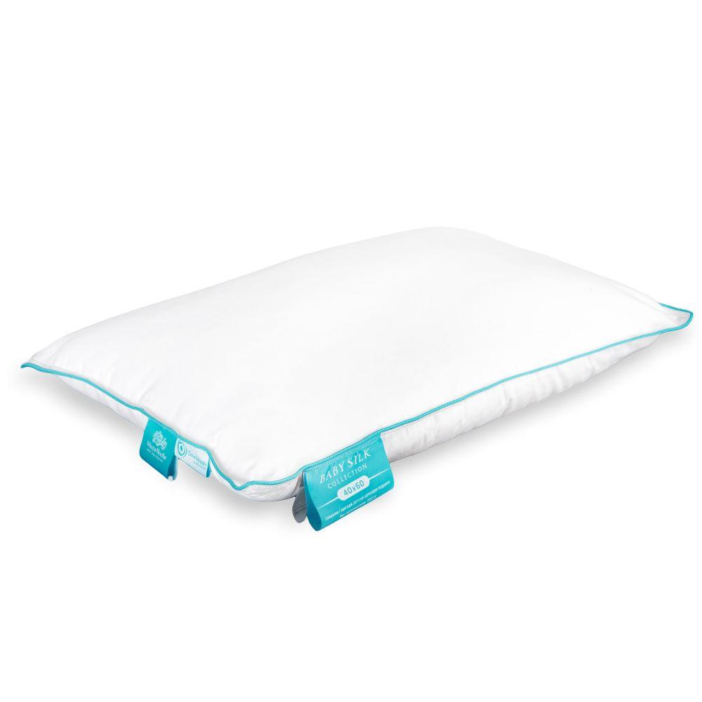 Детская подушка Muza Noche Baby Silk, шелк в сатине, 40x60см низкая, белый