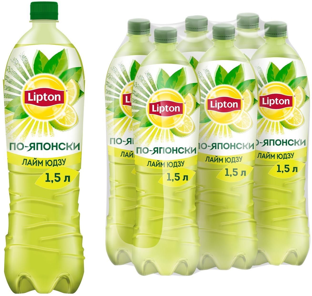 Зеленый холодный чай Lipton, со вкусом лайма Юдзу, 6 шт по 1,5 л