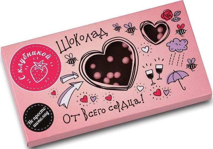 Шоколад молочный Sweet doctor От всего сердца с клубникой, 70 г победа вкуса шоколад с клубникой белый шоколад с кусочками клубники 250 г