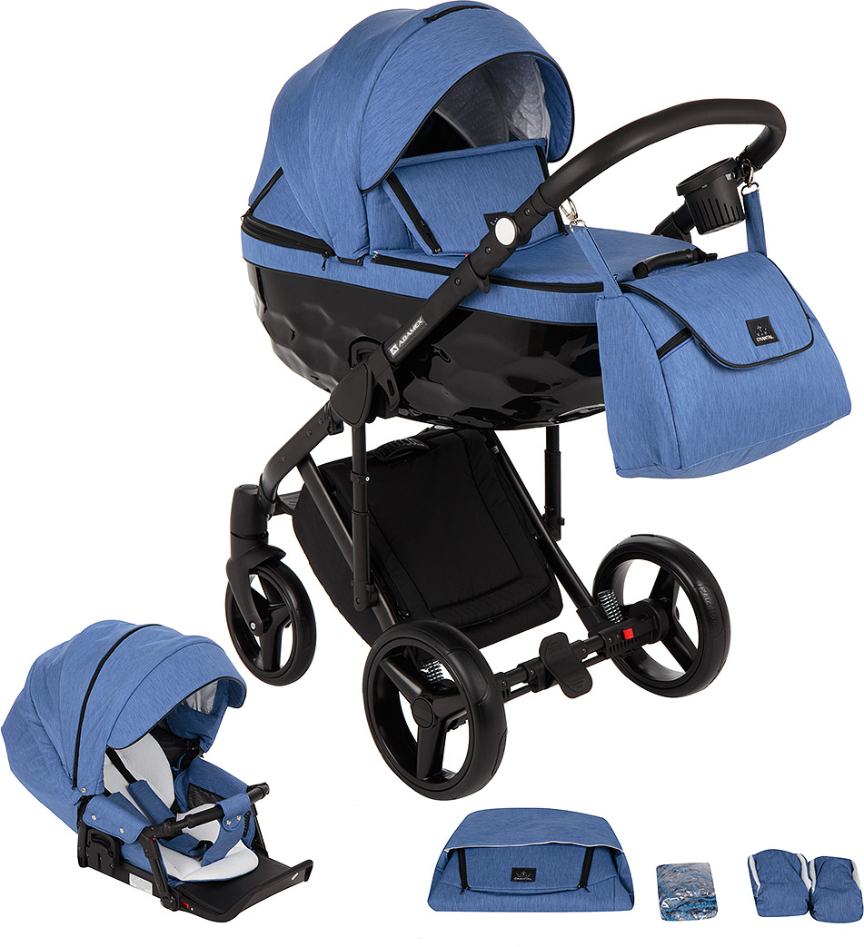 Коляска Adamex Chantal 2 в 1, C203, голубой, черный недорого