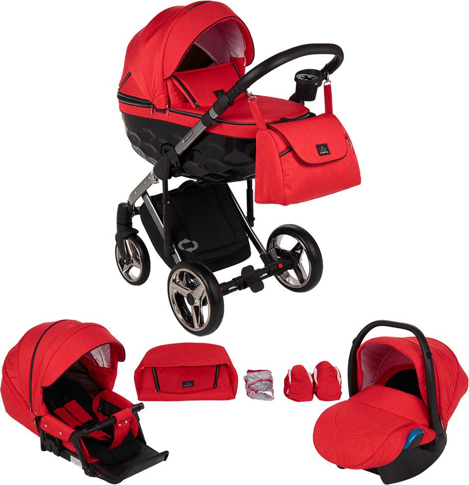 Коляска Adamex Chantal 3 в 1, C7, красный, черный коляска модульная vikalex ferrone 3 в 1 leather navy