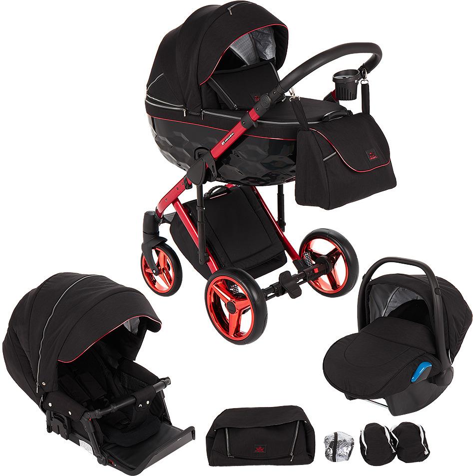 Коляска Adamex Chantal 3 в 1, C9, черный, красный коляска модульная vikalex ferrone 3 в 1 leather navy