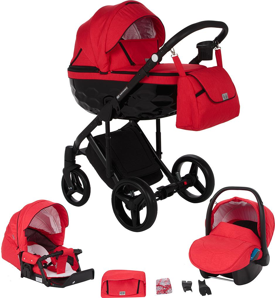 Коляска Adamex Chantal 3 в 1, C210, красный, черный коляска модульная vikalex ferrone 3 в 1 leather navy