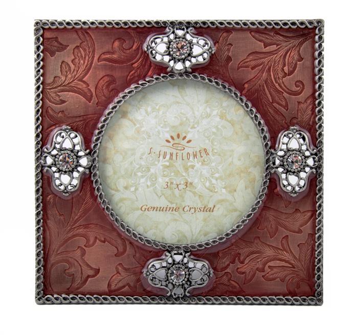 Фоторамка Антик Хобби 4 кристалла, коричнево-красный, серебристый, белый фоторамка круглая металл эмаль австрийские кристаллы вторая половина хх века