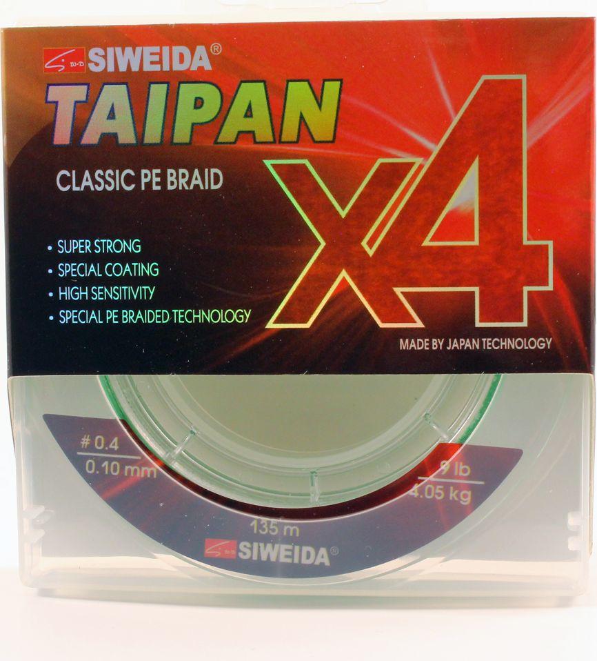 Плетеный шнур Siweida Taipan Classic Pe Braid X4, 0066516, светло-зеленый, 0,1 мм, 4,05 кг, 135 м