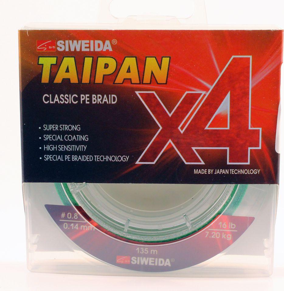 Плетеный шнур Siweida Taipan Classic Pe Braid X4, 0066520, светло-зеленый, 0,14 мм, 7,2 кг, 135 м
