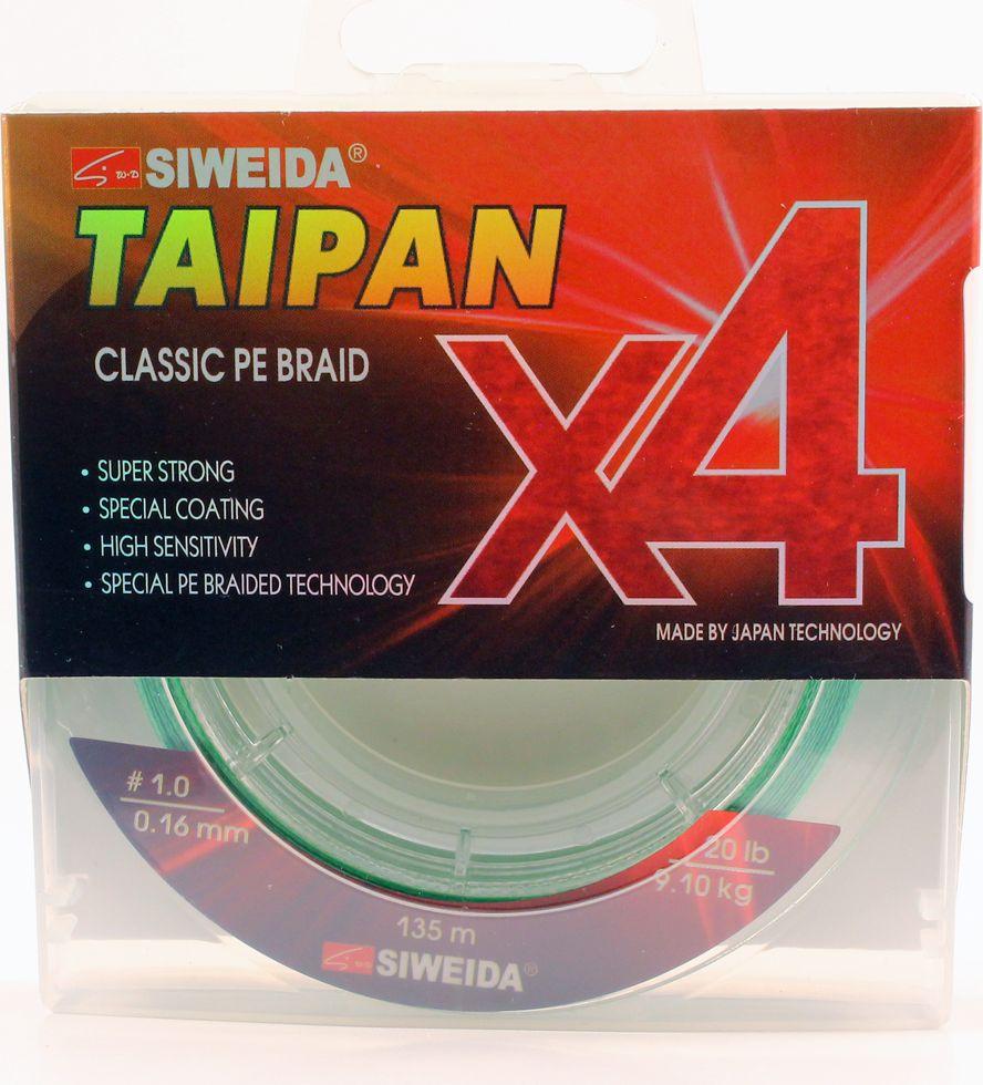 Плетеный шнур Siweida Taipan Classic Pe Braid X4, 0066521, светло-зеленый, 0,16 мм, 9,1 кг, 135 м