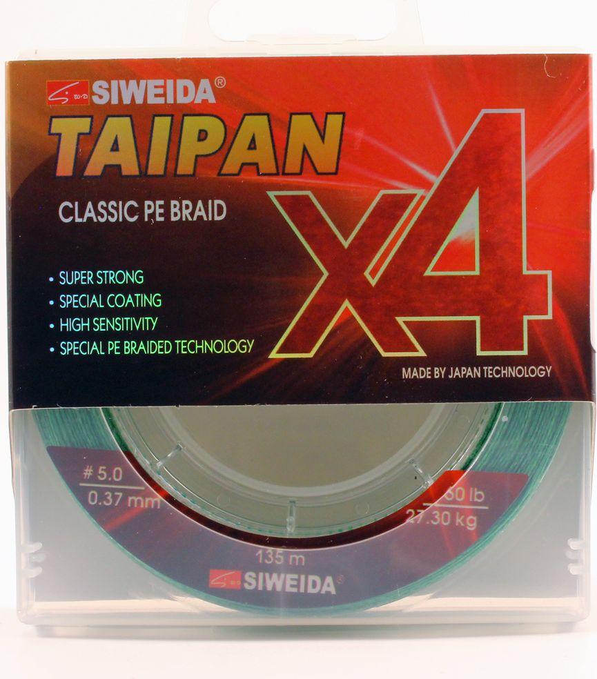 Плетеный шнур Siweida Taipan Classic Pe Braid X4, 0066533, светло-зеленый, 0,37 мм, 27,3 кг, 135 м