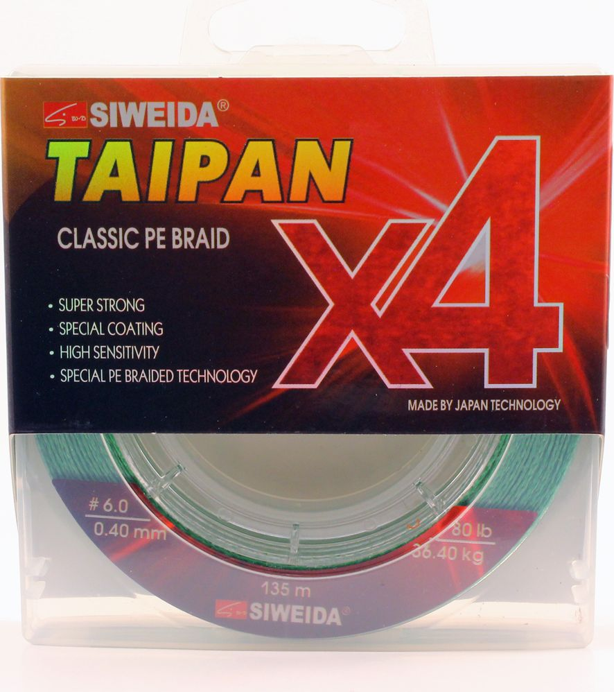 Плетеный шнур Siweida Taipan Classic Pe Braid X4, 0066534, светло-зеленый, 0,4 мм, 36,4 кг, 135 м
