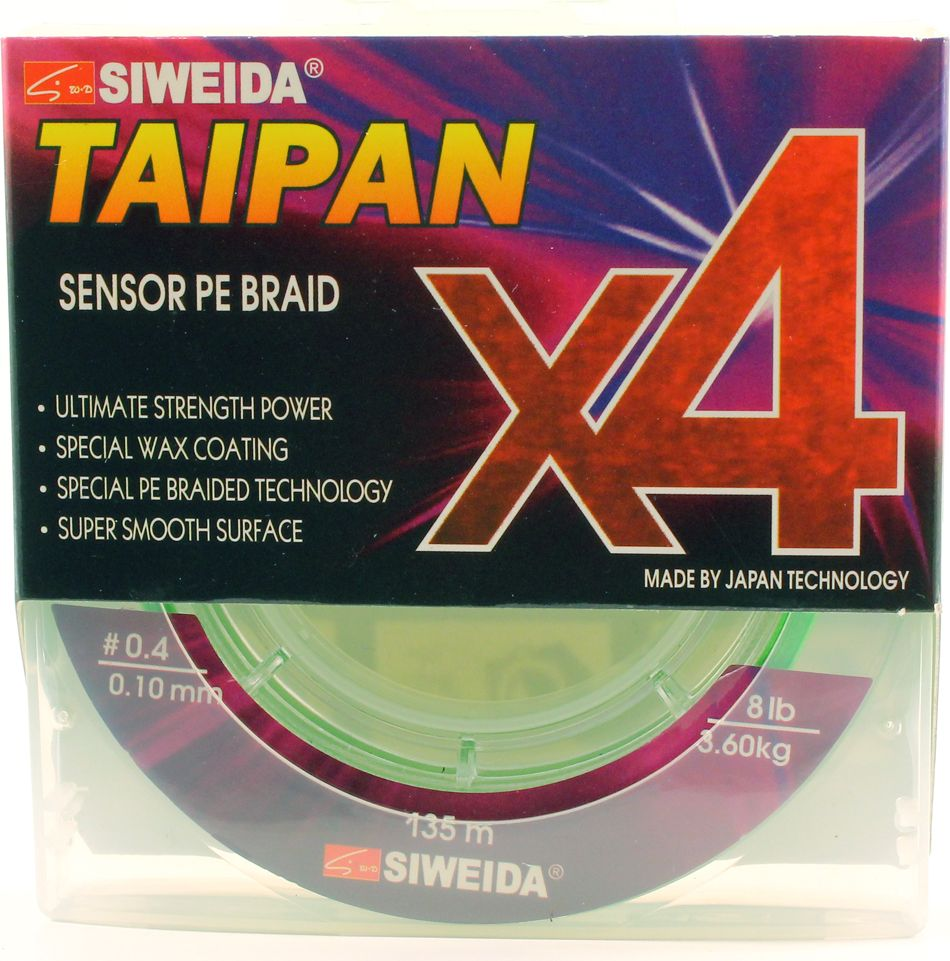 Плетеный шнур Siweida Taipan Sensor Pe Braid X4, 0066535, зеленый, 0,1 мм, 3,6 кг, 135 м