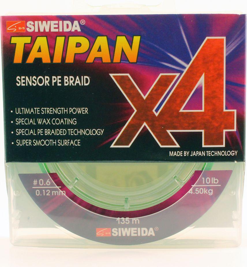Плетеный шнур Siweida Taipan Sensor Pe Braid X4, 0066536, зеленый, 0,12 мм, 4,5 кг, 135 м