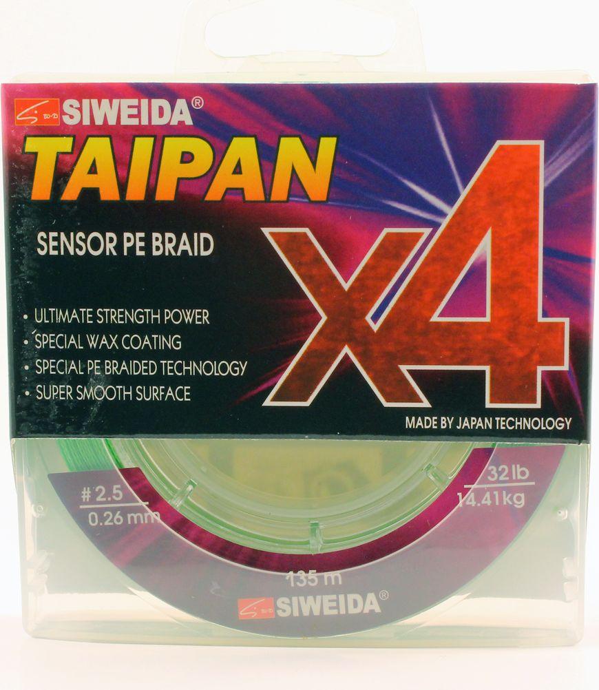 Плетеный шнур Siweida Taipan Sensor Pe Braid X4, 0066542, зеленый, 0,26 мм, 14,41 кг, 135 м