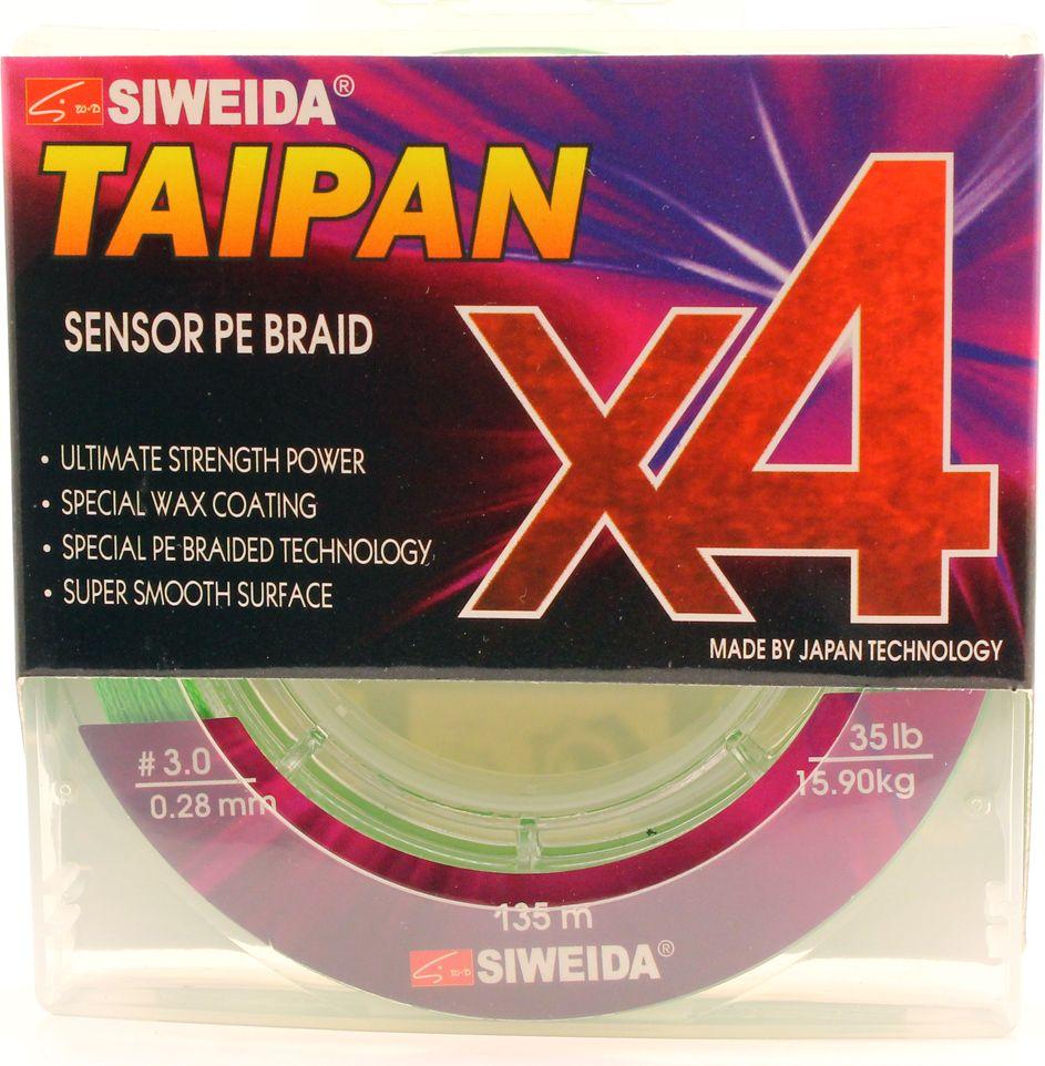 Плетеный шнур Siweida Taipan Sensor Pe Braid X4, 0066543, зеленый, 0,28 мм, 15,9 кг, 135 м