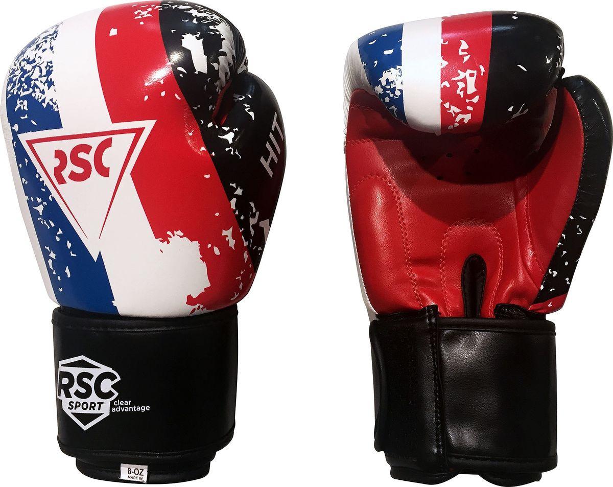 Перчатки боксерские RSC HIT PU, SB-01-146, белый, красный, синий, 8 oz