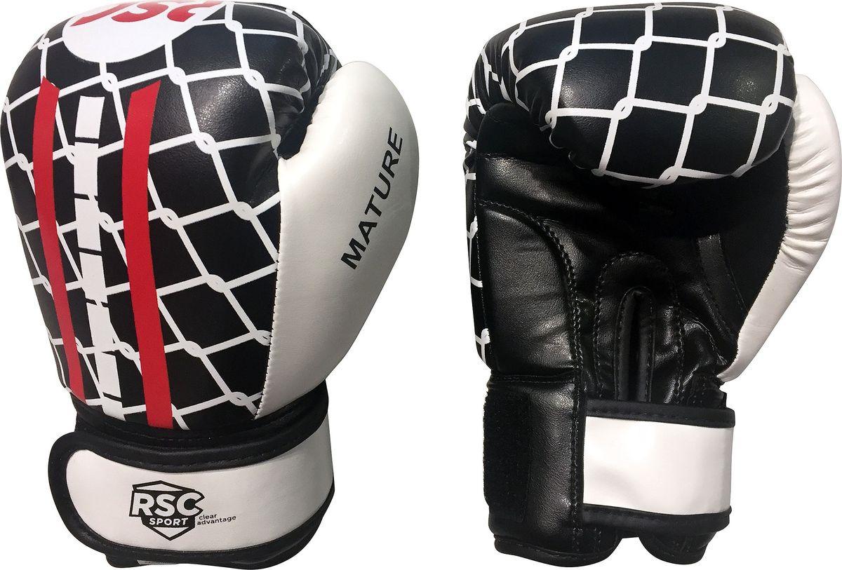 Перчатки боксерские RSC Mature PU DX, SB-16-1601, черный, белый, красный, 6 oz